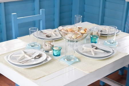 Table setting in maritime style photo