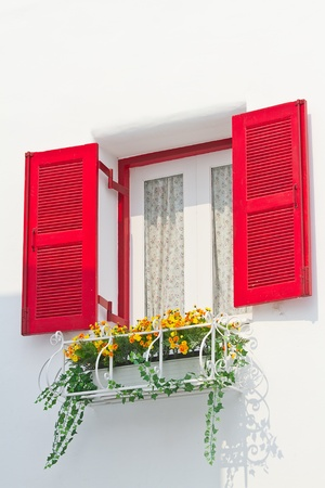 Greek Style red windows Stock Photo - 12917358