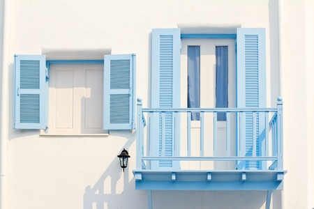 royal blue: Greek Style windows Stock Photo