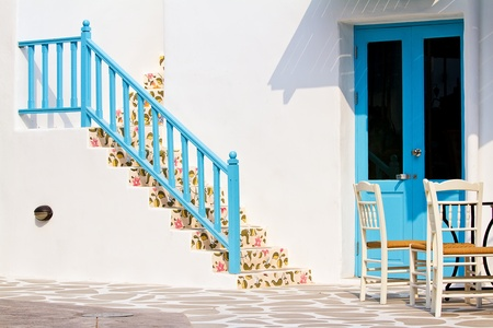 traditional house with steps in Santorini, Greece photo