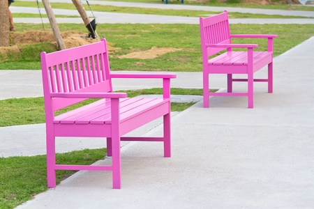 pink chair in the park  photo