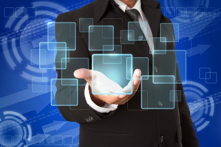 ringtones: business hand holds Touch screen  buttons Stock Photo