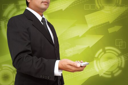 Business Hand holding smart phone with digital background photo