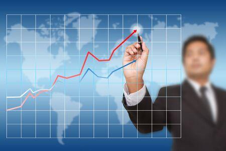 businessman drawing chart photo