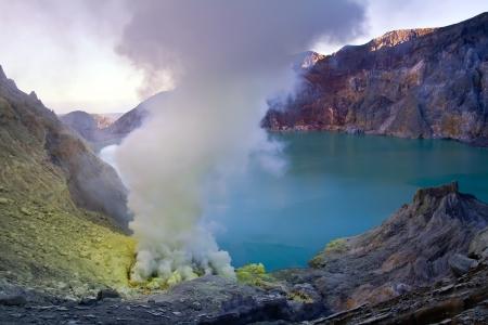 Extracting sulphur inside Kawah Ijen crater, Indonesia photo