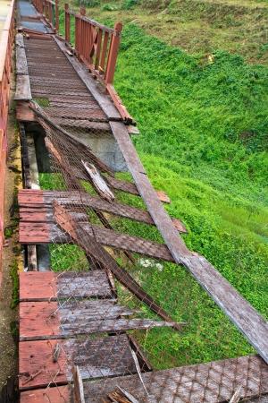 ruination: wood Bridge collapse  Stock Photo