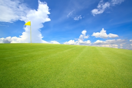 golf course with beautiful sky photo