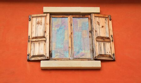 The Old window on wall background photo