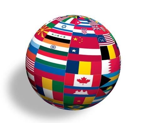 nazioni unite: La sfera del mondo bandiere Archivio Fotografico
