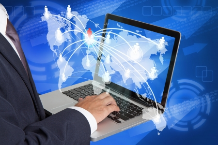 businessman working with laptop and people social network  photo