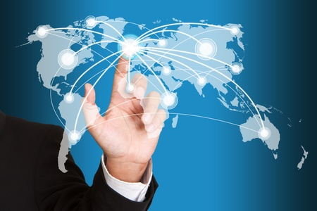 hand pushing social network structure Stock Photo - 14450485