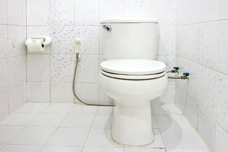 Interior of Toilet seat in bathroom photo