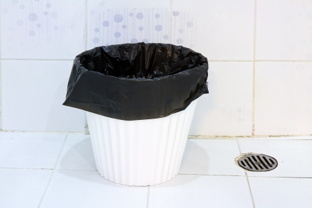 water closet: trash can in the bathroom