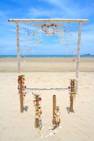 Wedding ceremony place on a tropical beach in Thailand photo