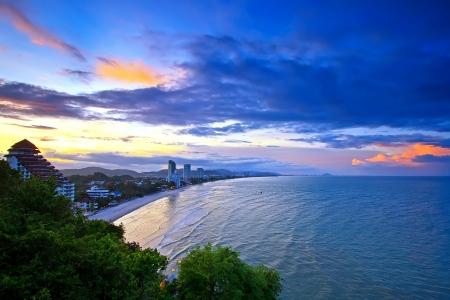 hin: sun set time at Hua-Hin beach in Thailand