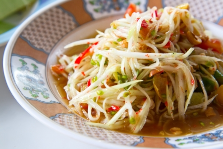 Green papaya salad thai cuisine spicy delicious Stock Photo - 15135960