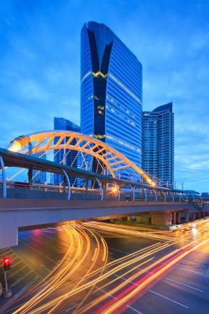 bangkok landmark: Sky bridge connection to Bangkok Rapid Transit Station, Sathon junction, Bangkok,Thailand Editorial