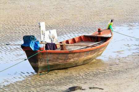 fishing boat on the huahin beach, Thailand photo