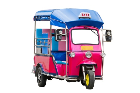 traditional pink Tuk Tuk  of Thailand photo