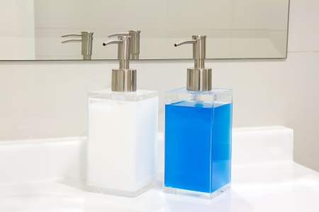 liquid soap container shampoo bottle. photo