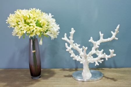 spliced: Decoration elements  flower, ceramics and sea coral