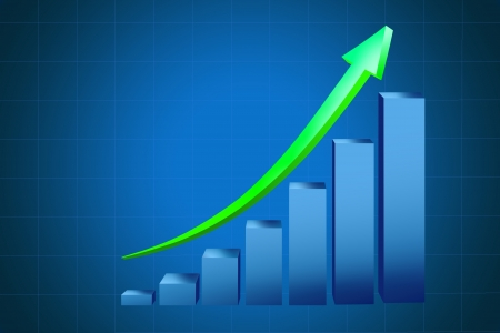 Business graph on blue background Stock Photo - 15382343