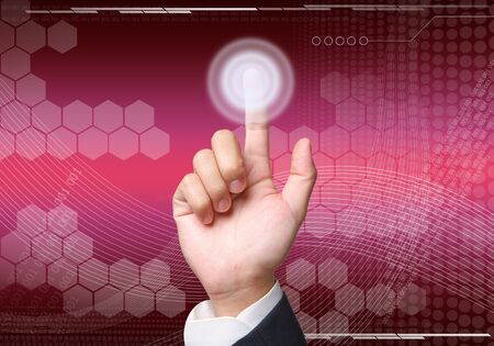 Hand pushing  abstract background graphics created with technology Stock Photo - 15382460