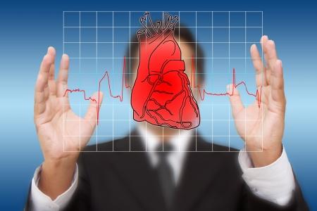 heartattack: Business man  holding Heart and heart beats cardiogram