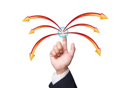 hand pushing arrows on white background Stock Photo - 15426685