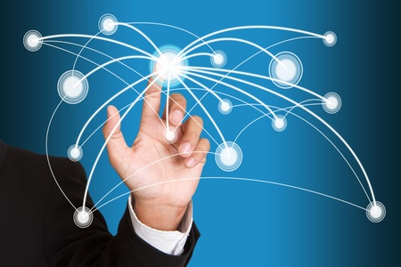 hand pushing social network structure Stock Photo - 15426690