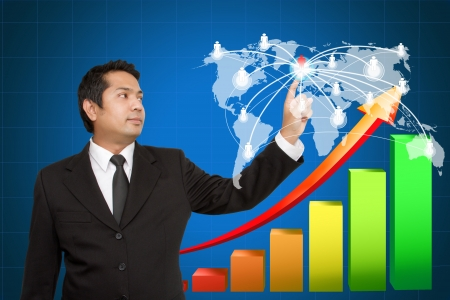 Business man touching social network structure  Stock Photo