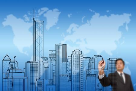 épület: üzletember rajz egy város