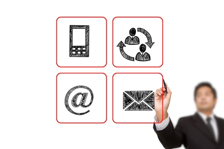 get in touch: businessman drawing Contact buttons set - email, envelope,  mobile icons