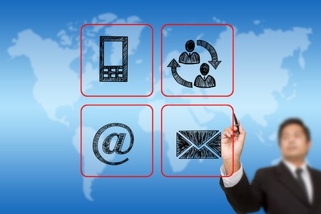 businessman drawing Contact buttons set - email, envelope,  mobile icons Stock Photo - 15445654