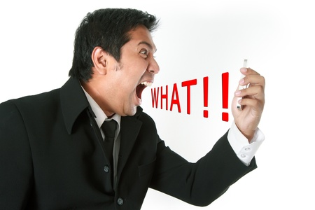 Angry business man screaming on cell mobile phone Stock Photo - 15445587