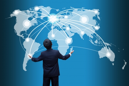 global internet: Businessman looking  social network structure