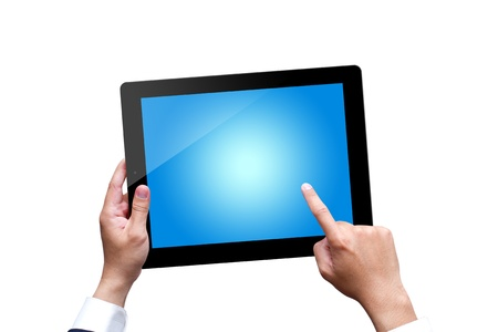 male hands holding a tablet isolated on white Stock Photo - 16253367