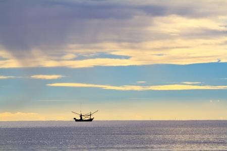 hin: boat on the beach at hua hin,thailand