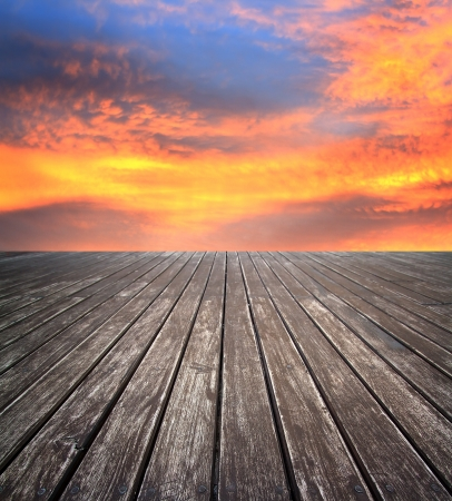 blue sunset sky and wood floor, background photo
