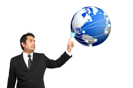 Businessman push social network structure photo