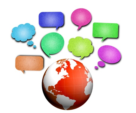 Globe with  speech bubbles photo