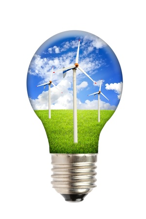 Green energy, ecology concept, light bulb photo