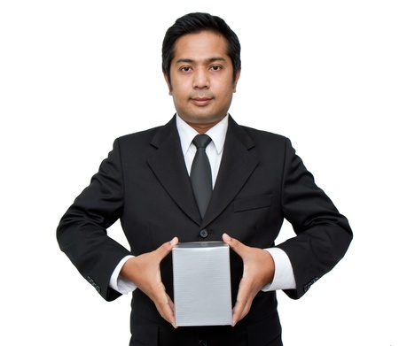 a businessman holding a pile of package parcels (isolated on white) photo