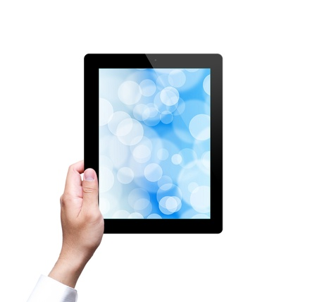 male hand holding a tablet with isolated Stock Photo - 20981836