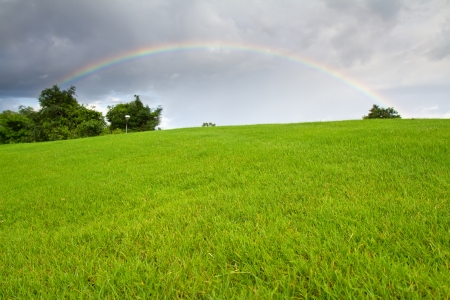 Green grass and real rainbow Archivio Fotografico