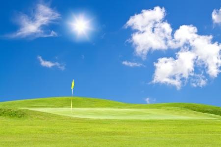 golf course with beautiful sky adn sun