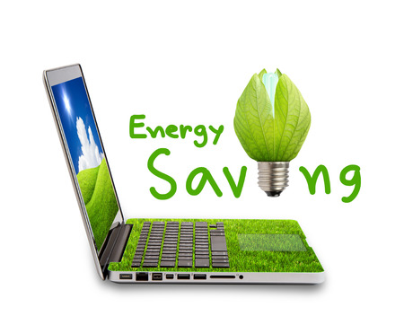 sustainably: Green Laptop and light bulb isolated on white concept of saving energy Stock Photo