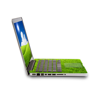 sustainably: Green Laptop isolated on white concept of saving energy Stock Photo