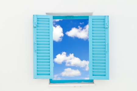 Greek Style windows with blue sky  photo