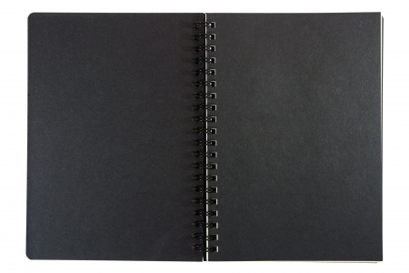 black cardboard the inside of ring notebook isolate on white photo